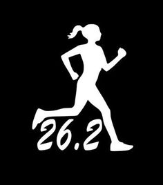 RUNNER FEMALE 26.2 Marathon Running Vinyl Decal Sticker D