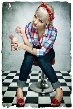 Rockabilly, CJ Bartis, Johanna Retrolover, pink, milkshake, bandana, rockabilly girl, retro