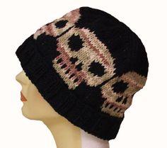 Skull Knit Hat Skull Knit Cap  Skull Hat  Skull by stayinstitches, $40.00 #handmade #etsy #knit
