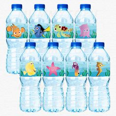 Finding Nemo Birthday Party Water Bottle Labels - Nemo Dori Squirt Pearl Sheldon Bubbles Gurgle Peach - DIY Party Printable Instant Download
