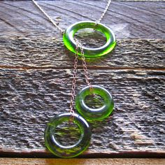 Green Wine Bottle Lariat Necklace on Copper Chain // Natural Glass. $35.00, via Etsy.
