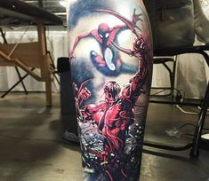 Spiderman vs Carnage tattoo by Steve Butcher
