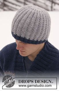 "Knitted DROPS men's hat in ""Alaska"". ~ DROPS Design"