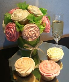 Cupcake arrangement based on a flower pot gift, with buttercream 'flower' decoration cupcakes. Cupcake Flower Pots, Cupcake Bouquets, Cupcake Arrangements, Buttercream Flowers, Cup Cakes, Cords, Cupcake Recipes, Flower Decorations, Cake Decorating