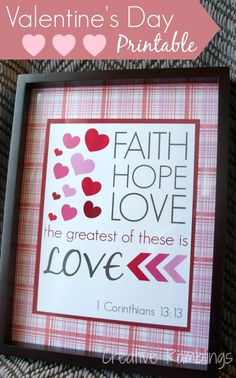 Valentine printable 1 Corinthians 13:!3 Free download from Creative Ramblings #Valentinesday