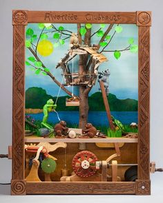 Cecilia Schiller incorporates woodcarving and woodworking skills into automata: moving sculptures. Kinetic Toys, Kinetic Art, Paper Train, Interactive Display, Wind Sculptures, Mechanical Art, Vbs Crafts, Woodworking Skills, Patterns