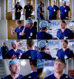 Owen: Hey.  Derek: Hey.  Owen: My wife is sleeping in your bed.  Derek: Yes, she is. With Meredith. She's sleeping with Meredith, I'm on the other side of the bed.  Owen: I'm sorry, don't you find that a little strange?  Derek: Mmm-hmm. Did you see E.T.?  Owen: The movie? Yeah, years ago, why?  Derek: Remember the kid Elliott? He and E.T. had a weird and disturbing bond. If he gets sick, E.T. gets sick. If E.T. gets drunk, Elliott will get drunk. That's kind of like Cristina and Meredith.