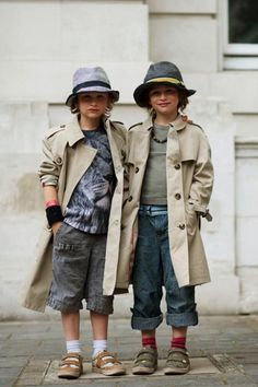 .Kids+ trench coats + fedoras These guys got it made!