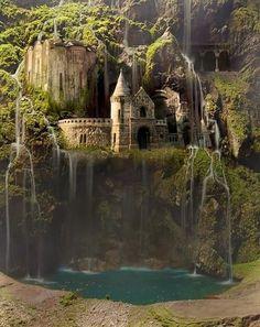 Waterfall castle - Poland