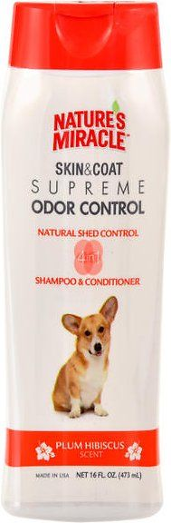 This unique deshedding shampoo helps control shedding before it happens. Nature's Miracle Supreme Odor Control Natural Shed Control Shampoo and Conditioner works to keep your dog fresh and clean. This soap-free formula is safe to use with spot-on flea and tick products, contains no dyes or parabens, and helps to maintain normal shedding. The 4 in 1 benefits of this shampoo include neutralizing a wide variety of odors, deodorizing, skin and coat cleaning, and conditioning. As a natural Cocoa…
