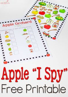 This Free Apple Orchard I Spy & Scavenger Hunt counting printable is awesome! I love the bright colors!