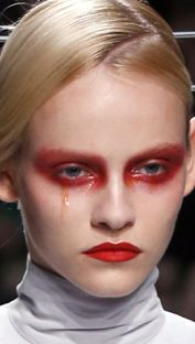 Gareth Pugh, this makeup would look great on the mad hatter, id make the lips a bright orange and add in some green for the contour