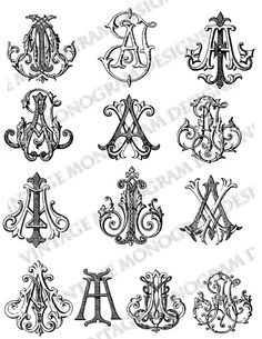 Mini custom collection of vintage monograms compiled from antique books and provided in PDF format.