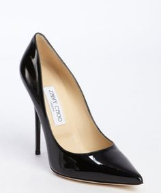 Jimmy Choo black patent leather pointed toe 'Anouk' pumps Hour they don't pinch b'cuz of the you're of the show.