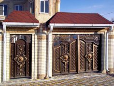 Steel Gate Design, Front Gate Design, Main Gate Design, House Gate Design, Door Gate Design, Wooden Door Design, Bungalow House Design, Front Gates, Entrance Gates