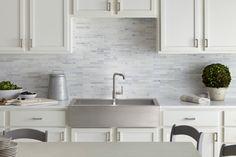 marble brick backsplash, & kohler vault sink