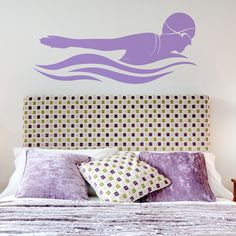 This clean and modern Butterfly Stroke Female Swimmer decal would be a great addition to any space!