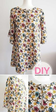 """DIY Tunic Dress   This is from the popular Japanese sewing pattern book, Stylish Dress Book 1. I've made the front slit a little longer than the original design so I can breastfeed! Use """"PINTEREST15"""" and get 15% off my ebooks."""