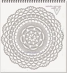 Lair knitting and motives of crochet tableclothDoily pattern (no photo of finished doily)Discover thousands of images about The Snorka crochet doily rug pattern is designed for crocheting with t-shirt yarn. Motif Mandala Crochet, Crochet Doily Diagram, Crochet Circles, Crochet Doily Patterns, Crochet Round, Crochet Chart, Crochet Home, Crochet Designs, Crochet Doilies