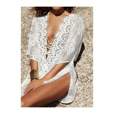 Rotita White Lace Crochet Beach Kaftan Swimsuit Cover Up (85.910 COP) ❤ liked on Polyvore featuring swimwear, cover-ups, white, beach cover ups, white bathing suit, lace swim cover up, white bathing suit cover up and white beach cover up