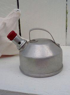 Vintage Toy Kitchen Tin Tea Kettle Red Retro by WeeLambieVintage, $6.50