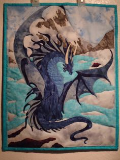 WOW!!! I declare this the official quilt of House Targaryen ;-)  Quilted Dragon Wall Hanging, Fiber Art Icy Stretch Dragon