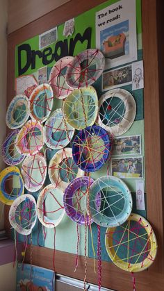 """Dream catcher display for our lesson on """"Willy The Dreamer"""" by Anthony Browne…"""