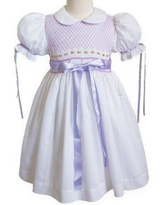 Baby Girls White with Lavender Ribbons Smocked Dress – Carousel Wear