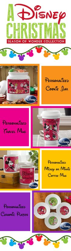 "A Disney Christmas ""Season of Wonder"" Collection - these gifts are beautiful and perfect for any Disney fan! You can personalize them too! Check out this site - they have even more Disney-themed gifts you can pick from! #Disney #Christmas #Mickey #Minnie"