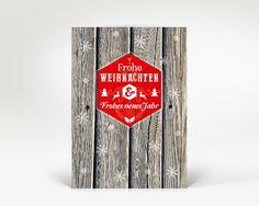 Weihnachtskarte Holz Schneeflocken moderne Grüße rot   Designer-Weihnachtskarte DK2048