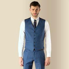 Ben Sherman Blue semi plain 5 button slim fit waistcoat- at Debenhams.com