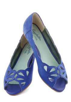 Know What I Mean Flat in Blue by Seychelles - Blue, Solid, Cutout, Scallops, Flat, Leather, Spring, Variation