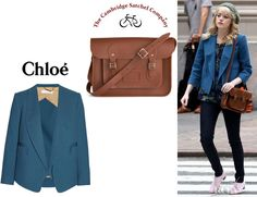 Emma Stone wearing a Chloé wool-crepe blazer and The Cambridge Company leather satchel. Know MOre