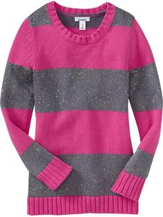 Old Navy | Girls Sequined-Stripe Sweaters