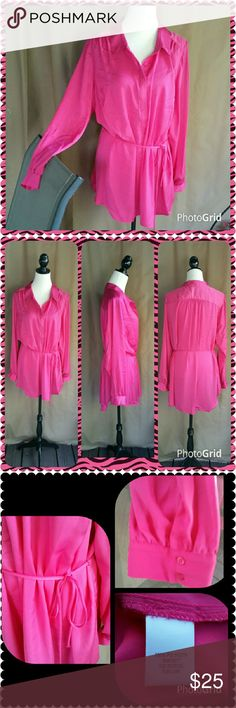Fuchsia pink long tunic top. Soft and silky. This long blouse / tunic has a thin tie belt. It is a beautiful bright pink color. New with tag. Apt. 9 Tops Blouses