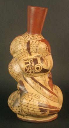 Botella escultórica: representación pictórica, cultura Moche. Materiales: Cerámica  Periodo: Intermedio Temprano 100 - 800 d.C.
