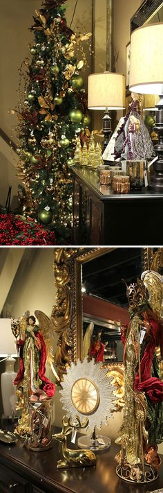 """""""Meet Me in the Canyon"""" #christmastree theme with gold and green, by The Tin Roof #holidayshoppe2015"""