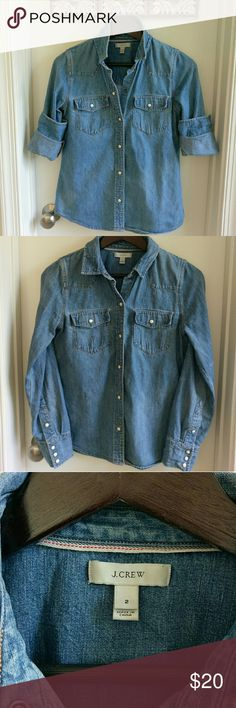 J. Crew Western Denim Shirt Great quality and timeless J.crew essential denim shirt. You can wear this with pretty much anything! J. Crew Tops Button Down Shirts