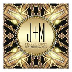 Tribal X ArtDeco Gold Glow Dinner Party Invitation - designed by Webgrrl • customizable #zazzle