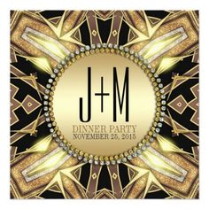 Tribal X ArtDeco Gold Glow Dinner Party Invitation - designed by Webgrrl • customizable #zazzle