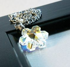 Swarovski Necklace      Oxidized Silver    Snowflake    by Hildes
