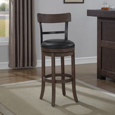 Found it at www.dcgstores.com - ♥ ♥ Taranto Swivel Counter Stool - Washed Brown, Black Bonded Leather ♥ ♥