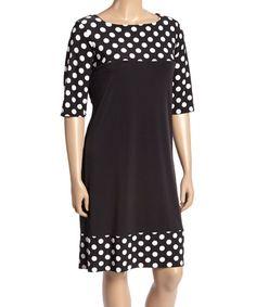 Black & White Polka Dot Boatneck Shift Dress - Plus   zulily