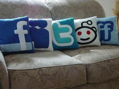 Social Media Pillows.  Pick which one isn't functioning properly and scream into it.