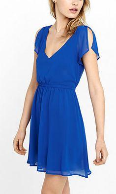 blue deep v-neck soft chiffon dress