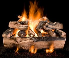 """Kodiak Split Triple Stack - Large Set.   Available in 30"""", 36"""", 48"""", and 60"""" sizes. (A minimum fireplace depth of 31"""" is required) Uses a specially designed double stack and triple stack burner. Available for Natural Gas.  48"""" Set shown Gas Logs, Cinder, Hearth, Lion Sculpture, Statue, Outdoor Decor, Torches, Fire Pits, Design"""