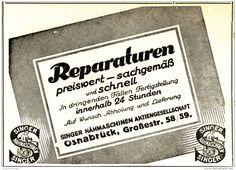 Original-Werbung/ Anzeige 1925 - SINGER NÄHMASCHINEN REPARATUREN  - OSNABRÜCK…