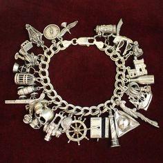 Charm Jewelry Sterling Pirate Theme Charm Bracelet Vintage Solid Silver Charms a Treasure Worthy of Anne Bonny - Vintage Charm Bracelet, Silver Charm Bracelet, Charm Jewelry, Silver Charms, Silver Earrings, Silver Jewelry, Vintage Jewelry, Fine Jewelry, Charm Bracelets
