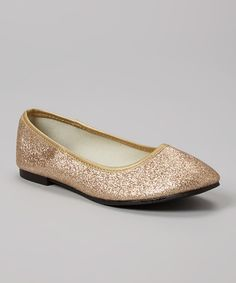 Look at this Rose Girl Gold Sparkle Flat on #zulily today!