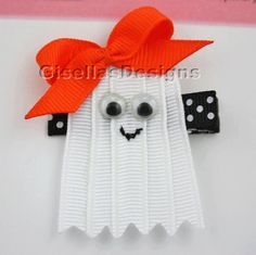 Halloween Ghost Ribbon Sculpture Bow by GisellasDesigns on Etsy,